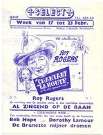 Ciné  Bioscoop Programma Cinema Capitole - Savoy - Select - Gent - Film Roy Rogers - Publicité Cinématographique