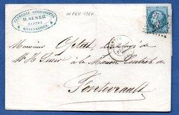 Plis De Nantes Pour Fontevrault  -  14 Fev 1864  -  Tannerie H Suser - Postmark Collection (Covers)