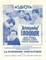 Ciné  Bioscoop Programma Cinema Capitole - Savoy - Select - Gent - L'Acrobate - Fernandel - Publicité Cinématographique