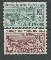 Allemagne Wurttemberg N° 42 / 43  X Championnat Allemand De Ski, Les 2 Valeurs Trace De Charnière Sinon TB - French Zone