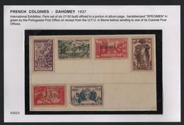 FRENCH COLONIES FRANCAISES DAHOMEY SPECIMEN INTERNATIONAL EXHIBITION 1937 - Dahomey (1899-1944)