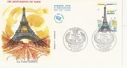 """FDC - France Env. 1er Jour """"la Tour Eiffel Monuments De Paris"""" - 92 Puteaux 21.04.89 - Timbre 2580 - 1980-1989"""