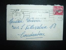 LETTRE MIGNONNETTE TP M. DE MULLER 15F OBL.MEC.28-12 1955 ALGER RP ALGER LOTERIE ALGERIENNE EGALE BOURSE PLEINE - Algérie (1924-1962)