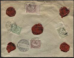 Fine Barbe N°56-59-61(2) Obl. LIEGE (LONGDOZ) S/lettre En Double Port ASSURE Pour 500fr Vers L'All. TB - 1893-1900 Thin Beard