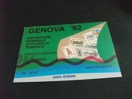 GENOVA 92 BIGLIETTO OMAGGIO ESPOSIZIONE MONDIALE DI FILATELIA TEMATICA FORMATO CARTOLINA - Borse E Saloni Del Collezionismo