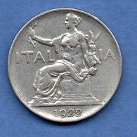 Italie  -  1 Lira 1922 R  - Km # 62   - état  TTB+ - 1900-1946 : Victor Emmanuel III & Umberto II