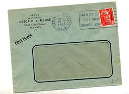 Lettre  Flamme Nancy Biere Lorraine - Poststempel (Briefe)