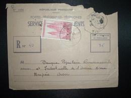 DEVANT PTT SERVICE DES RECOUVREMETS TP ROUEN 35F OBL.16-11 1959 ORAN RP ORAN + OBL. HEXAGONALE Tiretée ...KERMES TIARET - Algérie (1924-1962)