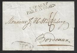 1823 - LAC - LISBONNE , Portugal A BORDEAUX - ESPAGNE PAR BAYONNE - Marque LISBOA - ...-1853 Préphilatélie