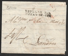 1830 - ENTERO - BILBAO A LONDRES - VIZCAYA X 2 - ESPAGNE PAR / St JEAN DE LUZ - ...-1850 Prefilatelia