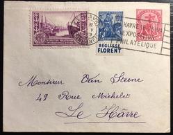 Montserrat Cover Entier Mixte 1penny Rouge + Jeanne D'arc France N°257 + Vignette De L'expo Du Havre De 1929 - Montserrat
