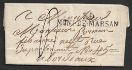 1823 - LAC - 39 MONT DE MARSAN 52mm X 11mm ( LANDES ) A BORDEAUX - BELLE FRAPPE - 1801-1848: Précurseurs XIX