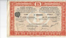NMBS, SNCF, BELGISCHE SPOORWEGEN, EFFECT VAN 1949, INCLUSIEF ALLE COUPONS - Chemin De Fer & Tramway