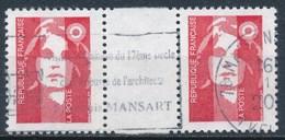 France - Marianne De Briat Sans Valeur Rouge YT 2806 Obl (paire Horizontale + Interpanneau) - 1989-96 Marianne Du Bicentenaire