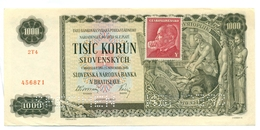 Slovakia 1000 Korun 1940 SPECIMEN, Slovaquie,Slovacchia, Slowakei, Tisic Korun, 2T4 + Stamp - Slovaquie