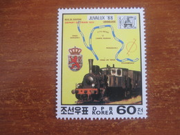 DPR KOREA NORTH  LOCOMOTIVE JUVALUX STAMP EXPO 1988 MNH - Korea, North