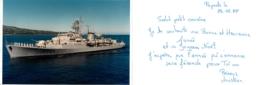 AVISO ESCORTEUR ENVOYEE DE PAPEETE EN 1988  ENSEIGNE DE VAISSEAU HENRY VOIR LES 2 SCANS - Guerre