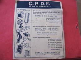 Buvard - C.P.D.E.  23 Rue De Vienne Paris 8° - Format : 27 X 18,5 Cm - Electricité & Gaz