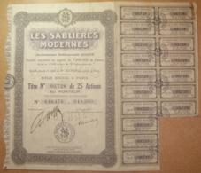 Titre Les Sablières Modernes - Titre De 25 Actions Au Porteur 1935 Manque 3 Coupons - Mines