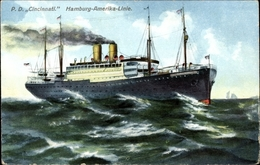 Cp Dampfschiff Cincinnati, HAPAG, Fahrt Auf Hoher See - Ships