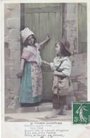 """CARTE FANTAISIE. SÉRIE COMPLÈTE  5 CARTES. ENFANTS ET  """" LA FOURMI CHARITABLE """" ANNEE 1908 - Enfants"""