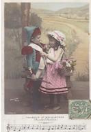 """CARTE FANTAISIE. SÉRIE COMPLÈTE  5 CARTES. ENFANTS ET LA CHANSON """" TAMBOUR ET BOUQUETIERE """" ANNEE 1907 - Enfants"""