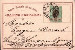 ! 1898 Postcard Souvenir Du Bresil, Brazil, Brasilien, Rio De Janeiro  To Luxembourg, Luxemburg - Luxembourg