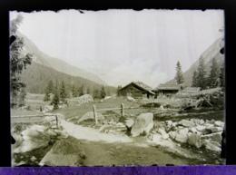 Ancienne Photographie Suisse Photo Négatif Sur Plaque De Verre Près Champex Val D'Arpette Orsières Martigny Bovernier - Glasdias