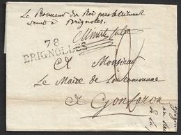 1823 - LAC - 78 BRIGNOLLES (VAR) 44mm X 11mm - PROCUREUR DU ROI PAR LE TRIBUNAL - 1801-1848: Precursores XIX