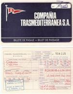 Ticket Bateau 1976 - Trasmediterranea - Billet De Passage Alegeciras, Espagne à Tanger, Maroc Pour 1 Auto & 2 Passagers - Billets D'embarquement De Bateau