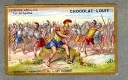 Chromo Louit Leonidas Histoire Roi De Sparte Sparta King Bataille Thermophiles Battle WEYL Sevestre Victorian Trade Card - Louit