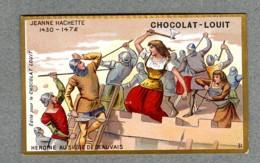 Chromo Louit Histoire Jeanne Hachette Heroine Bataille Siege De Beauvais Battle WEYL & Sevestre Victorian Trade Card - Louit