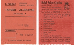 Ticket Bateau 1976 - Limadet, Les Lignes Du Détroit - Boarding Card , Tanger, Maroc à Algeciras, Espagne - Billets D'embarquement De Bateau