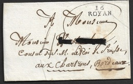 1816 - LSC - 16 ROYAN 10mm X 9mm ( CHARENTE INFERIEURE ) A CONSUL DE S.M LE ROI DE PRUSSE - Postmark Collection (Covers)
