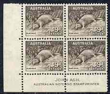 Australia 1937-49 KG6 Platypus 9d P13.5 X 14 John Ash Imprint Corner Block Of 4 Unmounted Mint As SG 173 - Unclassified