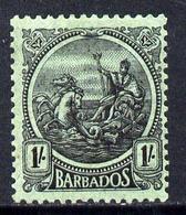 Barbados 1921-24 Britannia Script CA 1s Black On Emerald Mounted Mint SG 226 - Barbades (1966-...)