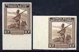 Belgian Congo 1942 Askari Sentry 10f Brown Two Imperf Marginal Singles With Bi-lingual Inscription Reversed, M... - Belgique