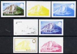 Belize 1983 Maya Monuments $2 (Lamanai) X 7 Imperf Progressive Proofs Comprising The 4 Main Individual Colours... - Belize (1973-...)