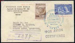 Bolivia 1957 Revalued Registered Postal Stationery Envelope (dam) To Argentina - Bolivie
