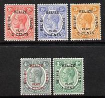 British Honduras 1932 Belize Relief Fund Set Of 5 Mounted Mint, SG138-42 - Honduras