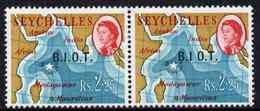 British Indian Ocean Territory 1968 BIOT Opt On 2r25 Horiz Pair, One Stamp Showing No Stop After I (B.I O.T.) ... - Territoire Britannique De L'Océan Indien