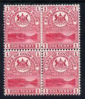 Cape Of Good Hope 1900 Table Mountain 1d Carmine Block Of 4 Mounted Mint SG 69 - Afrique Du Sud (1961-...)