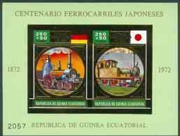 Equatorial Guinea 1972 Japanese Trains Centenary M/sheet Containing 2 Vals (Steam Trains 250+50p) In Gold With... - Guinée Equatoriale
