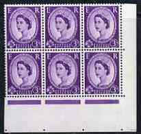 Great Britain 1958-65 Wilding Crowns 3d Two Corner Blocks Of 6 Showing Phantom R 2nd & 3rd Retouches, Unmounte... - Great Britain