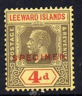 Leeward Islands 1921-32 KG5 Script CA 4d Black & Red On Yellow Overprinted SPECIMEN Fine With Gum And Only Abo... - Montserrat