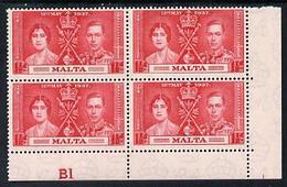 Malta 1937 KG6 Coronation 1.5d Corner Plate Block Of 4 (plate B1) Unmounted Mint (Coronation Plate Blocks Are ... - Malta