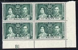 Malta 1937 KG6 Coronation 1/2d Corner Plate Block Of 4 (plate B1) Unmounted Mint (Coronation Plate Blocks Are ... - Malta