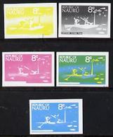 Nauru 1973 Catching Flying Fish 8c Definitive (SG 105) Set Of 5 Unmounted Mint IMPERF Progressive Proofs On Gu... - Nauru