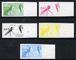Nauru 1973 Frigate Bird 50c Definitive (SG 111) Set Of 5 Unmounted Mint IMPERF Progressive Proofs On Gummed Pa... - Nauru