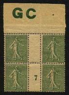 FRANCE - YT 130j ** - SEMEUSE LIGNEE 15c Type IV - BLOC DE 4 TIMBRES NEUFS ** AVEC MILLESIME 7 (1917) ET MANCHETTE GC - Millésimes